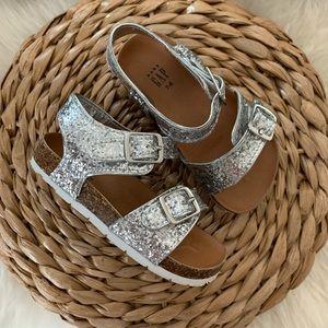 GAP | Silver Glitter Cork Footbed Sandals NWOT